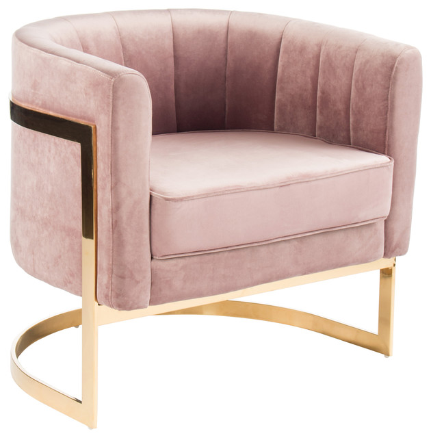 Mica Gold Accent Chair, Blush Pink