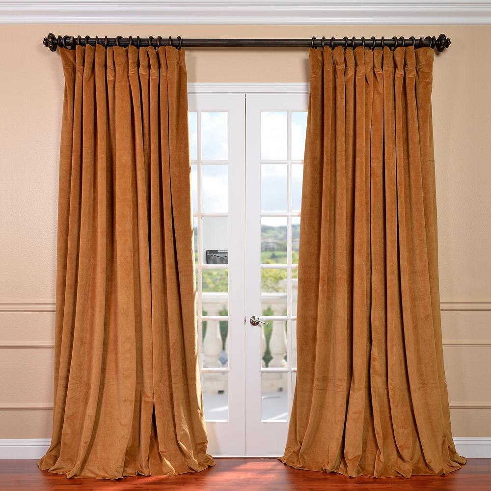 Exclusive Fabrics & Furnishings Blackout Signature Amber Gold Doublewide  Blackout Velvet Curtain - 100 in.