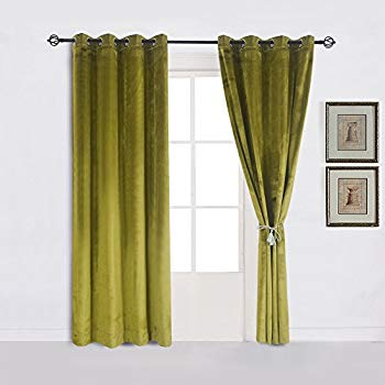Super Soft Luxury Velvet Moss Green |olive GreenSet of 2 Thermal Blackout  Curtain Panel Drapes