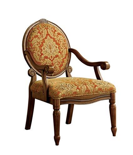 Furniture of America Gwyneth Victorian Style Padded Fabric Arm Chair,  Antique Oak Finish