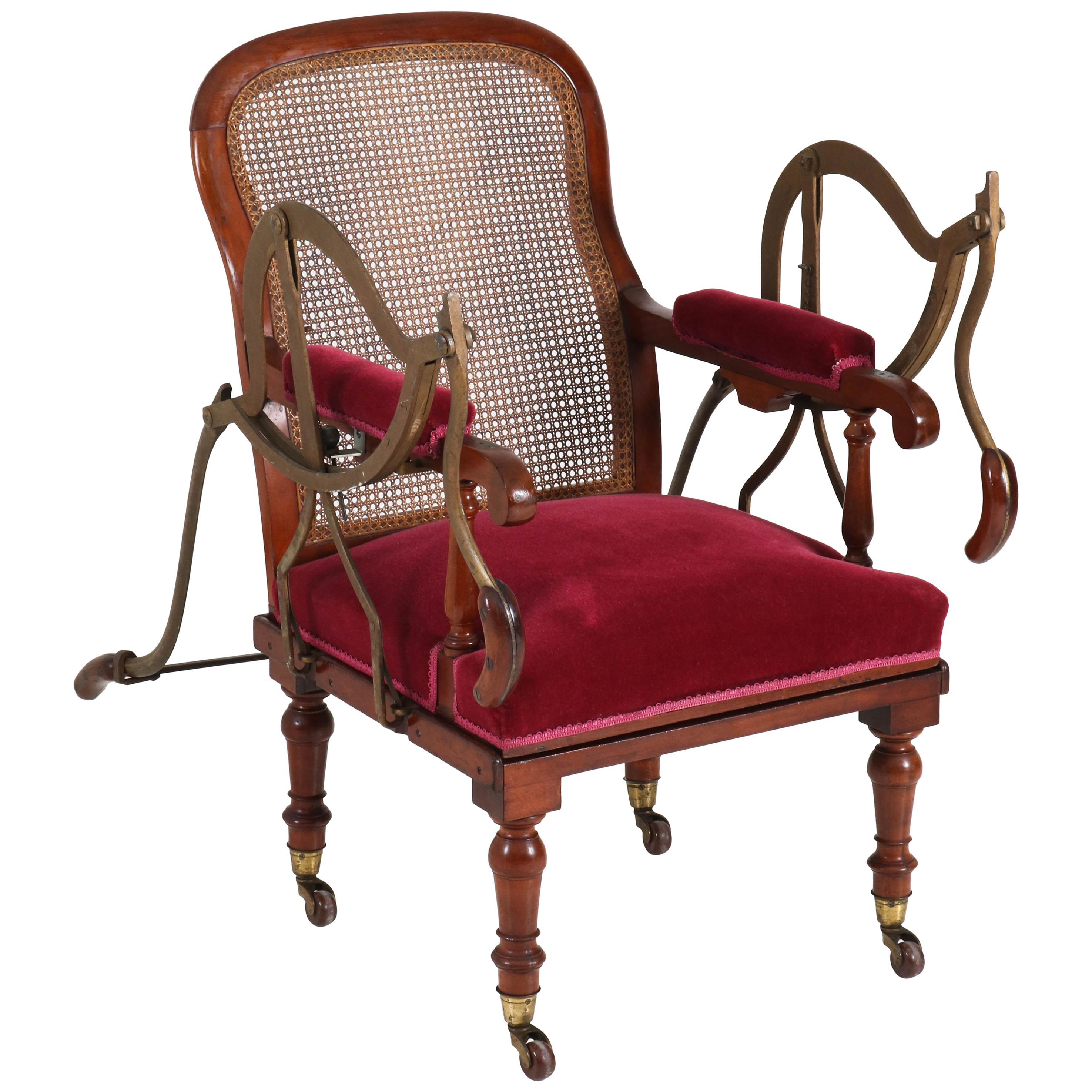 Antique Dutch Mahogany Victorian Armchair or Stretcher by Simonis Amsterdam  For Sale