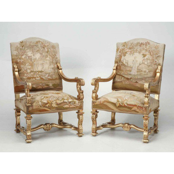 Antique French Gilded Throne Chairs