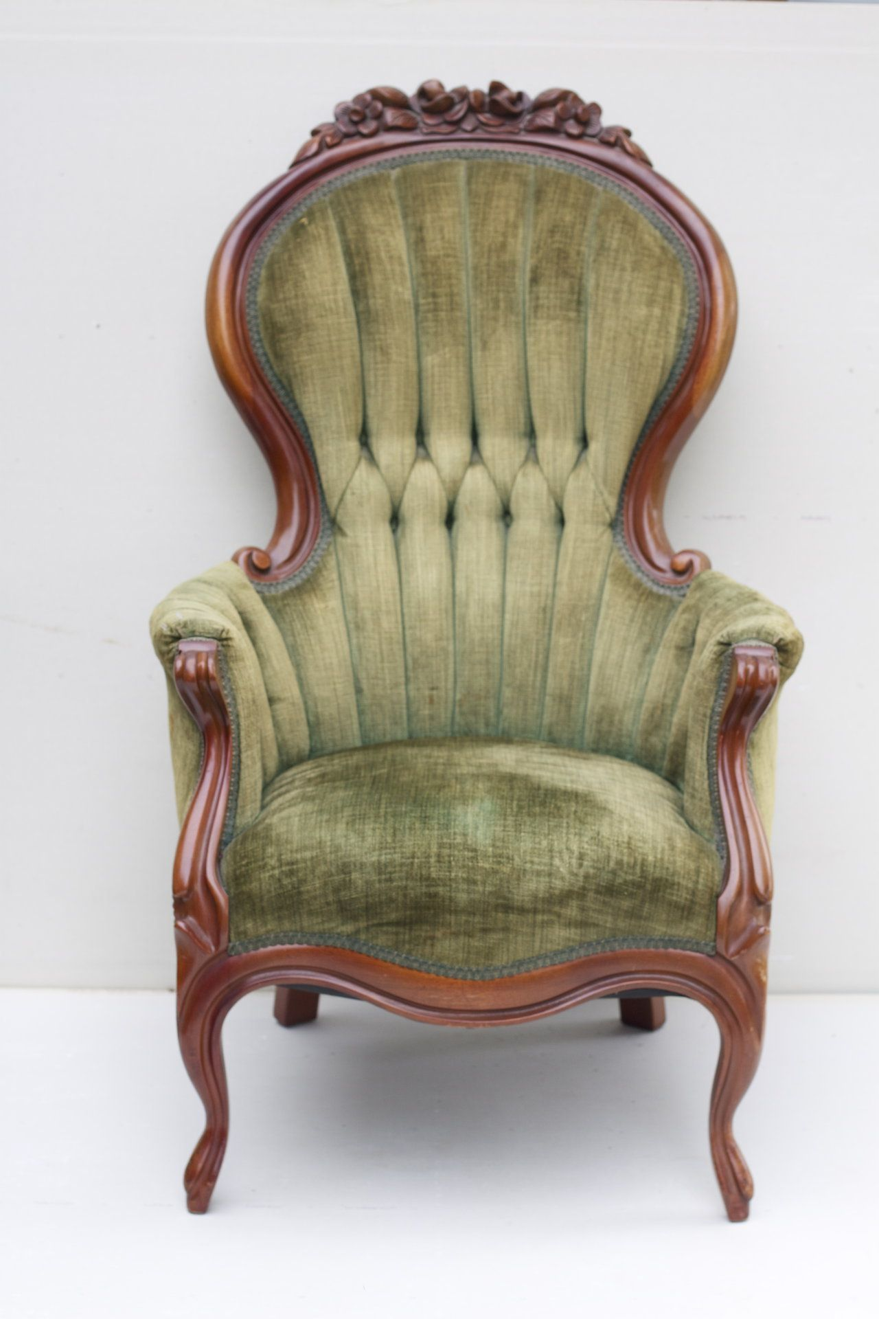 Vintage Chair with tufted sage green chenille upholstery and cherry wood  frame. Description from Traveller Location. I searched for this on  Traveller Location/images