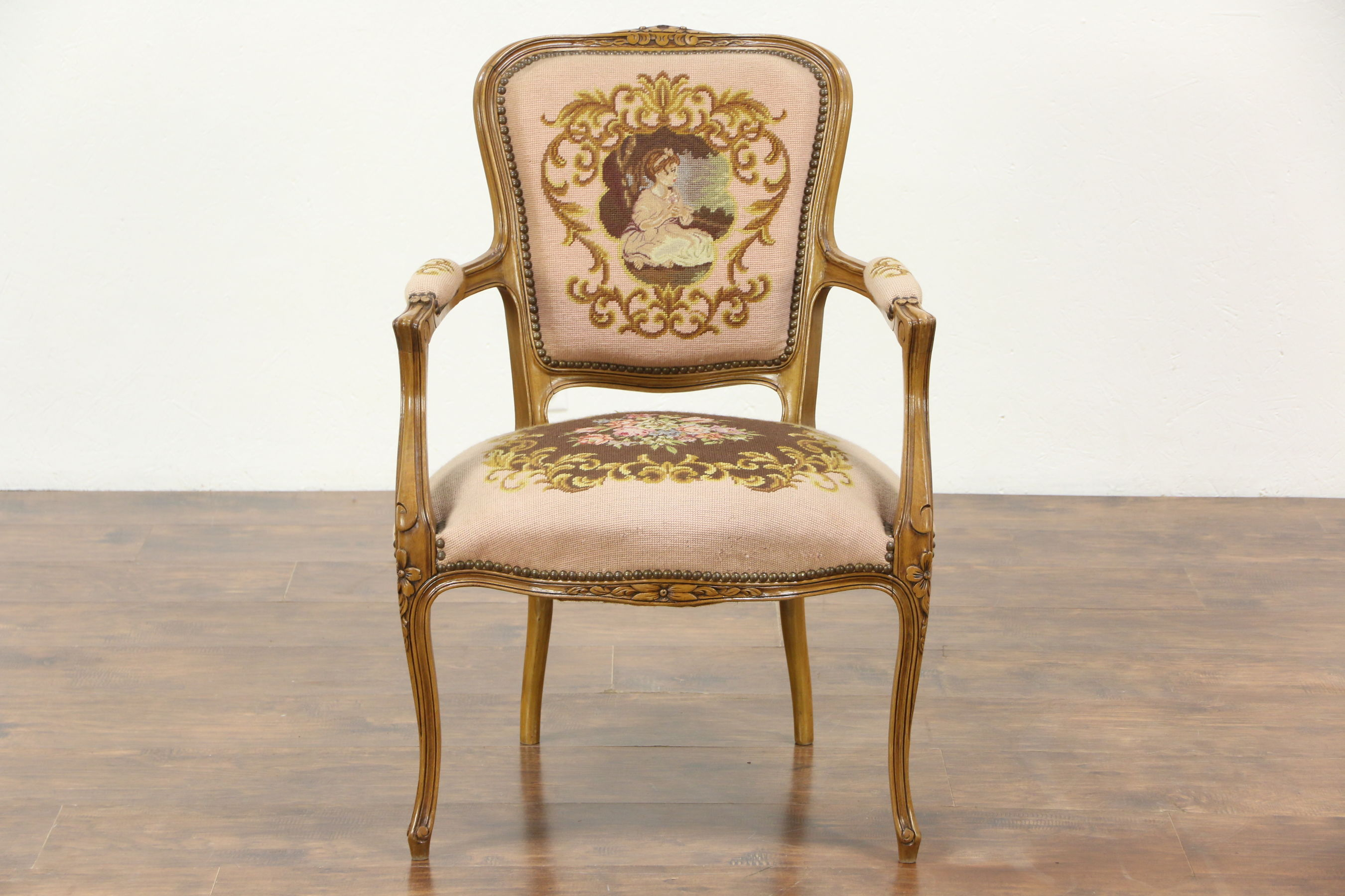 SOLD - French Carved Vintage Chair, Needlepoint & Petit Point Upholstery -  Harp Gallery