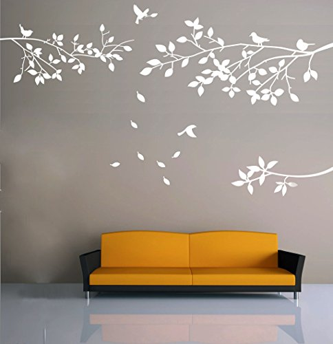 Traveller Location: Elegant Tree and Birds Wall Decal Art Branch Wall Sticker  Living Room Decoration (White, XL): Home & Kitchen