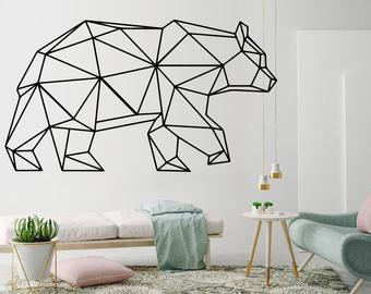 Bear, Geometric Wall Art, Decal, Bear Decor, Geometric Art, Geometric,  Animals, Outlines, Stickers, Wall Decal, Wall Art, Decals, Gift
