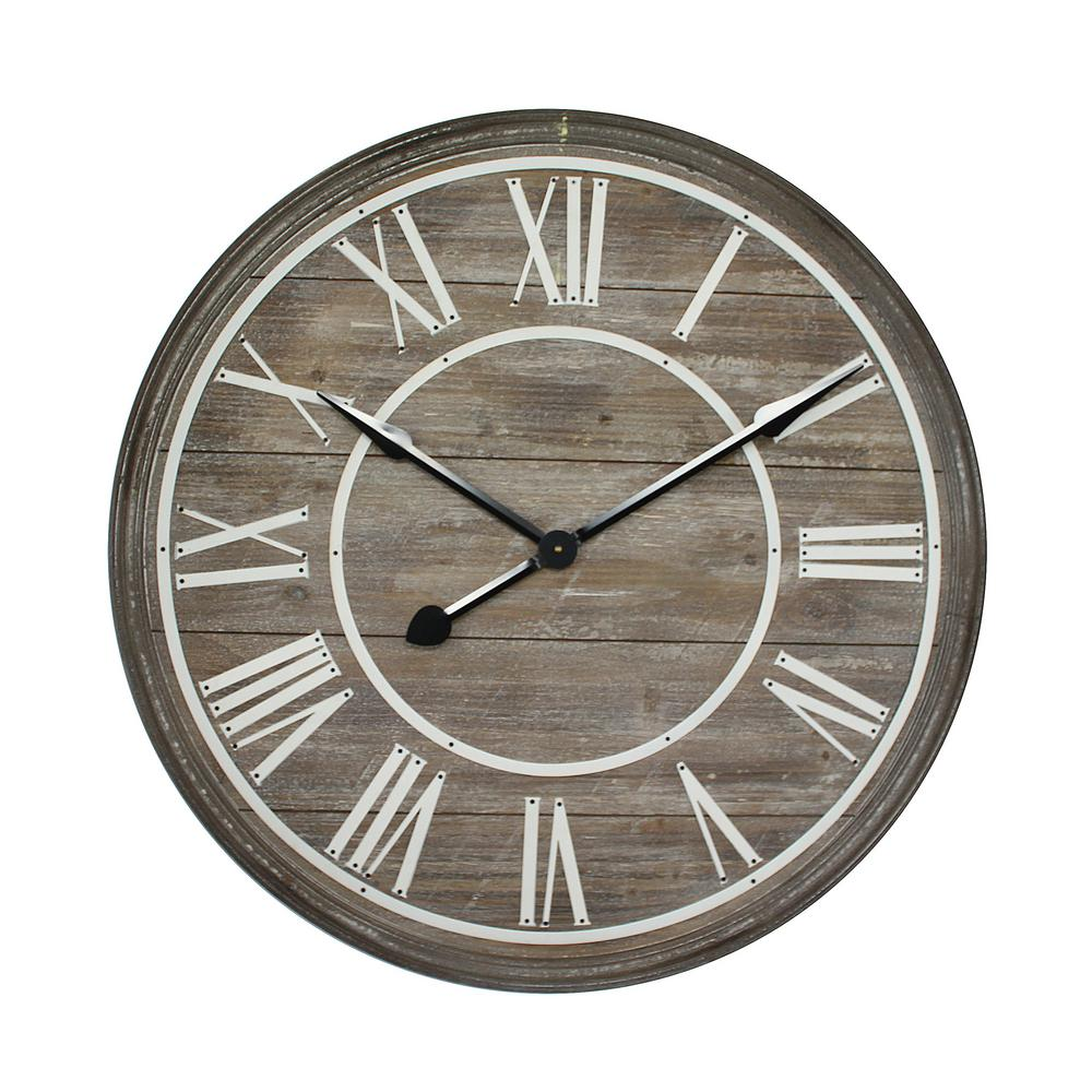 Yosemite Home Decor Rustic Age Distressed Brown Oversized Wall Clock