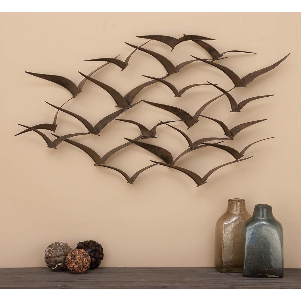 Brown Iron Flying Birds Wall Decor Modern