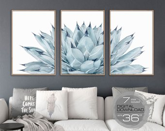 Printable wall art 3 Large wall art prints Wall art Cactus print Wall decor  Bedroom Wall decor living room decor Cactus decor Cactus art