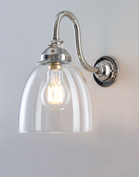 Old School Electric glass swan arm wall light