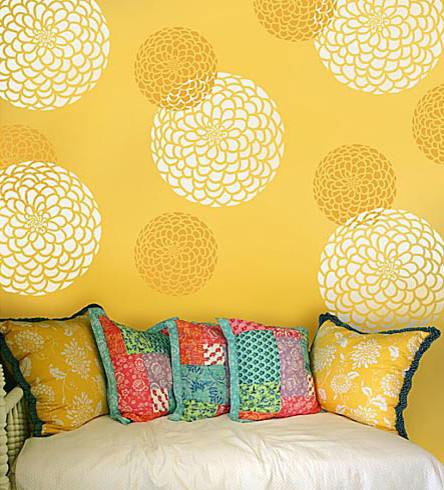 Zinnia Grande Flower Stencil, Reusable Wall Stencils, Floral Wall Design -  Contemporary - Wall Stencils - by Cutting Edge Stencils