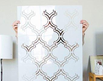 Moroccan Double Large Wall stencil pattern, Moroccan Stencil and Geometric  stencil for DIY project - wall stencils - Moroccan Design