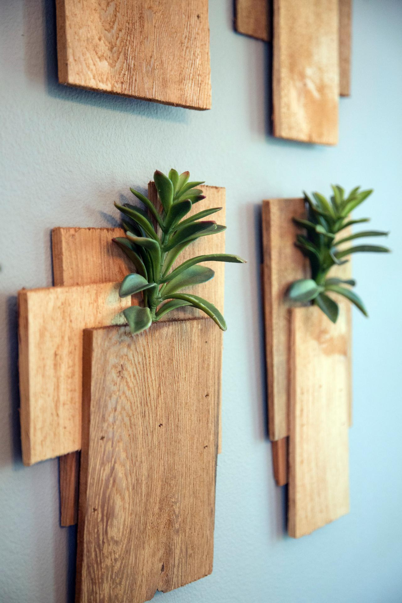 Wood Planks and Succulents as Wall Decor