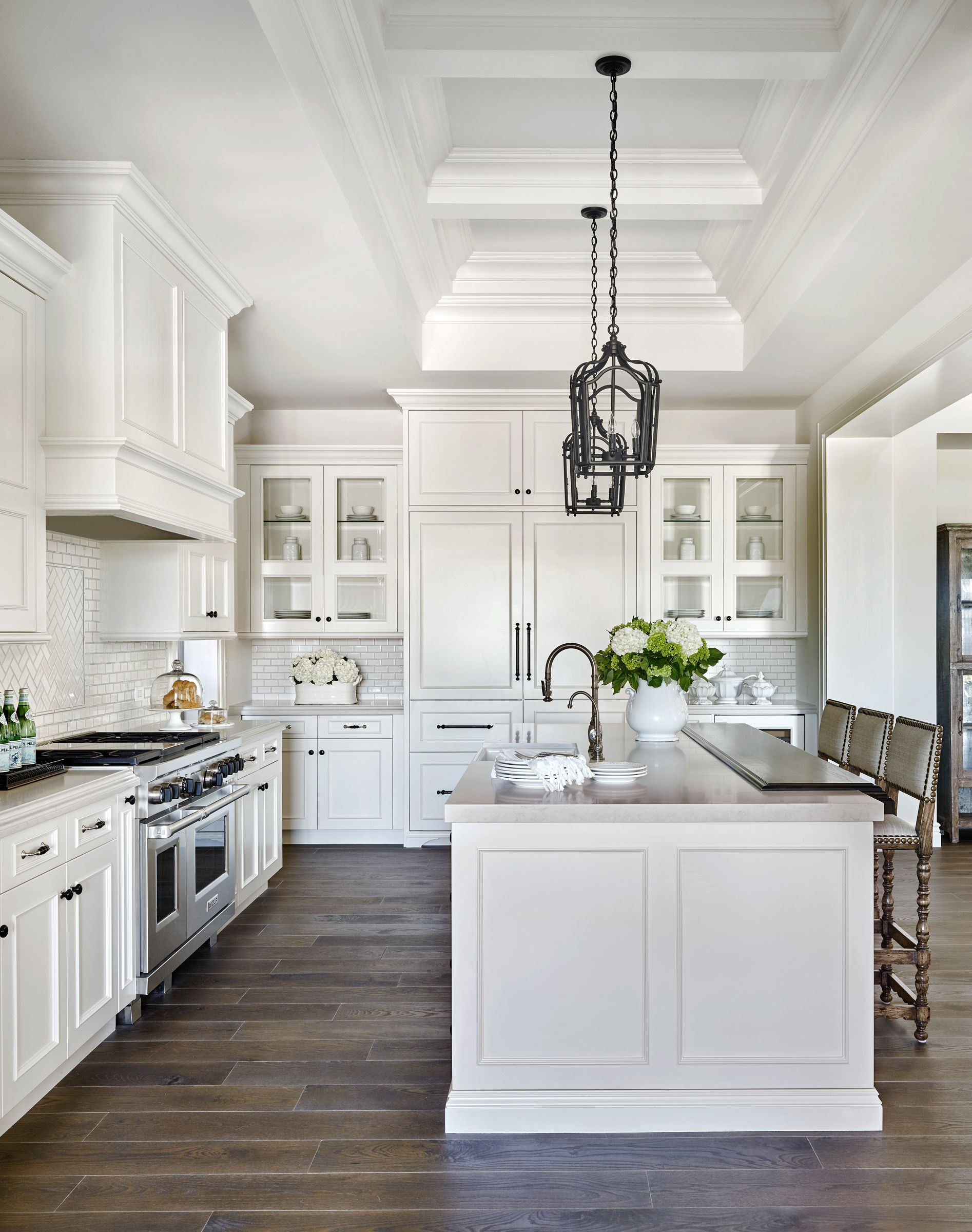 White Raised Panel Kitchen Cabinets with White Mini Subway Tile Backsplash  Kitchens With White Cabinets,