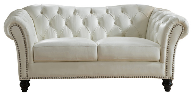 Mona Leather Craft Loveseat, Ivory White