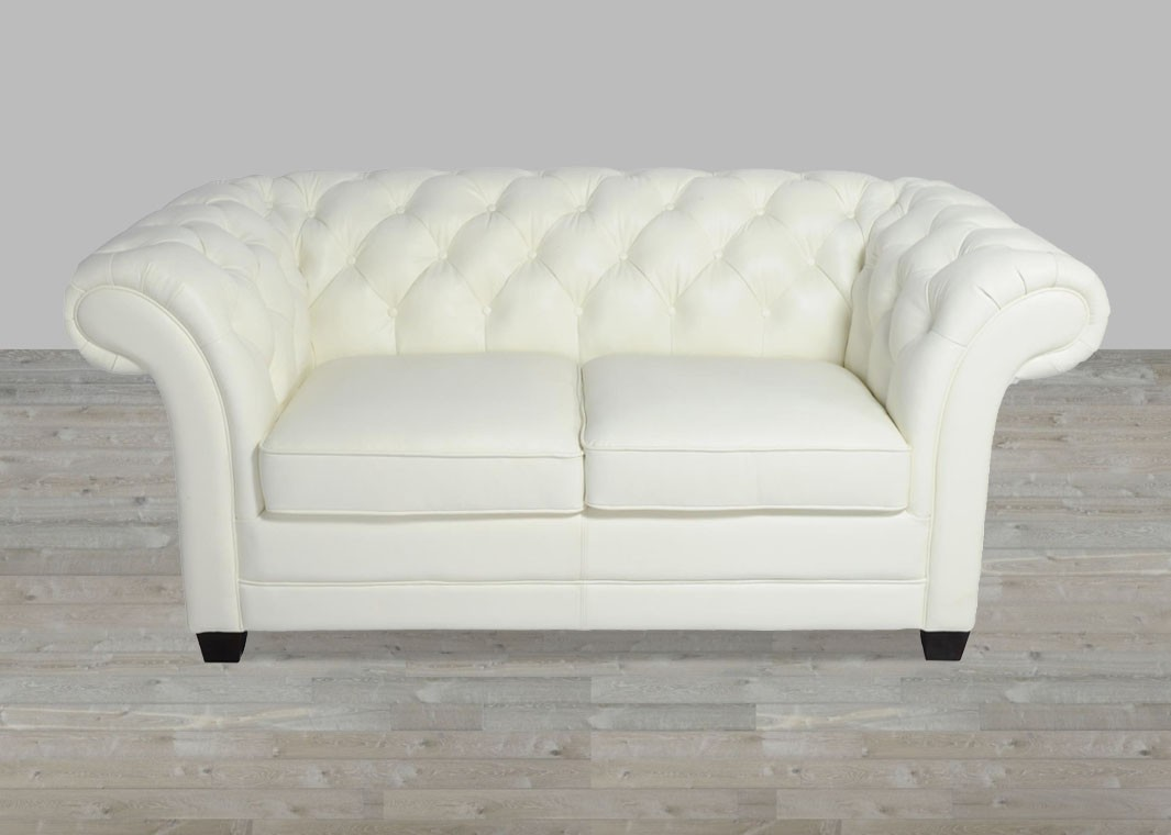 White 100% Top Grain Leather Chesterfield Loveseat Button Tufted