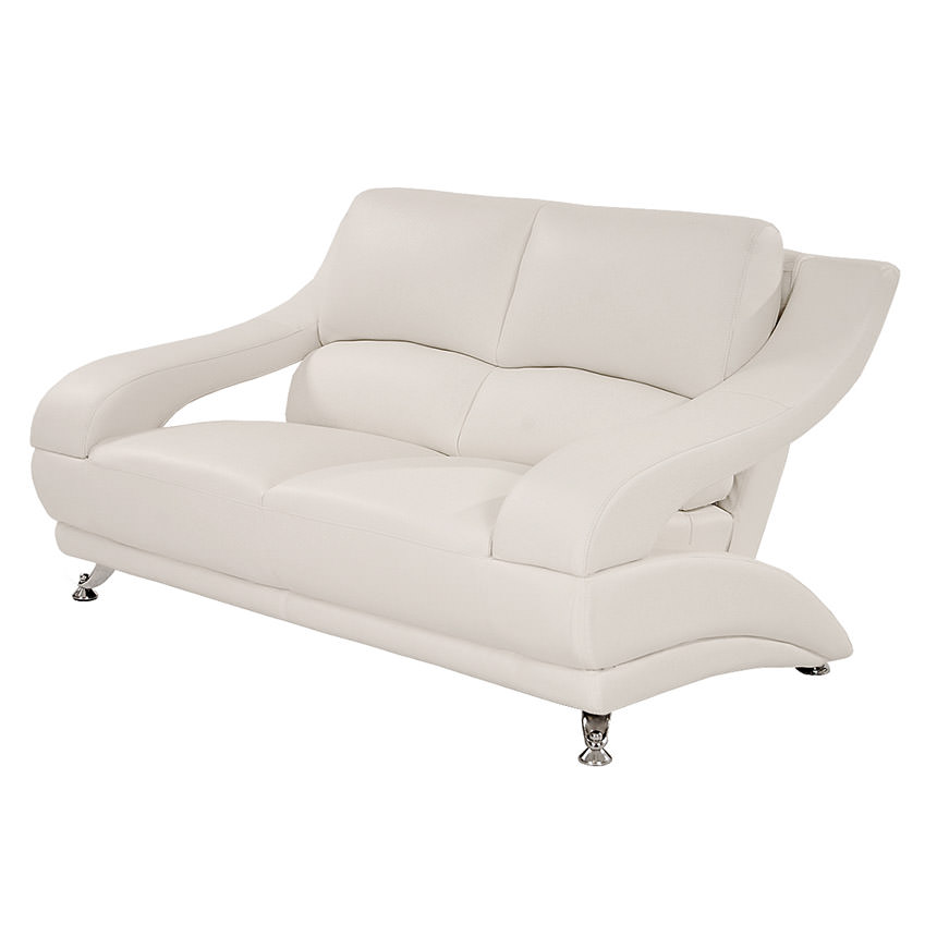 Jedda White Leather Loveseat main image, 1 of 5 images.