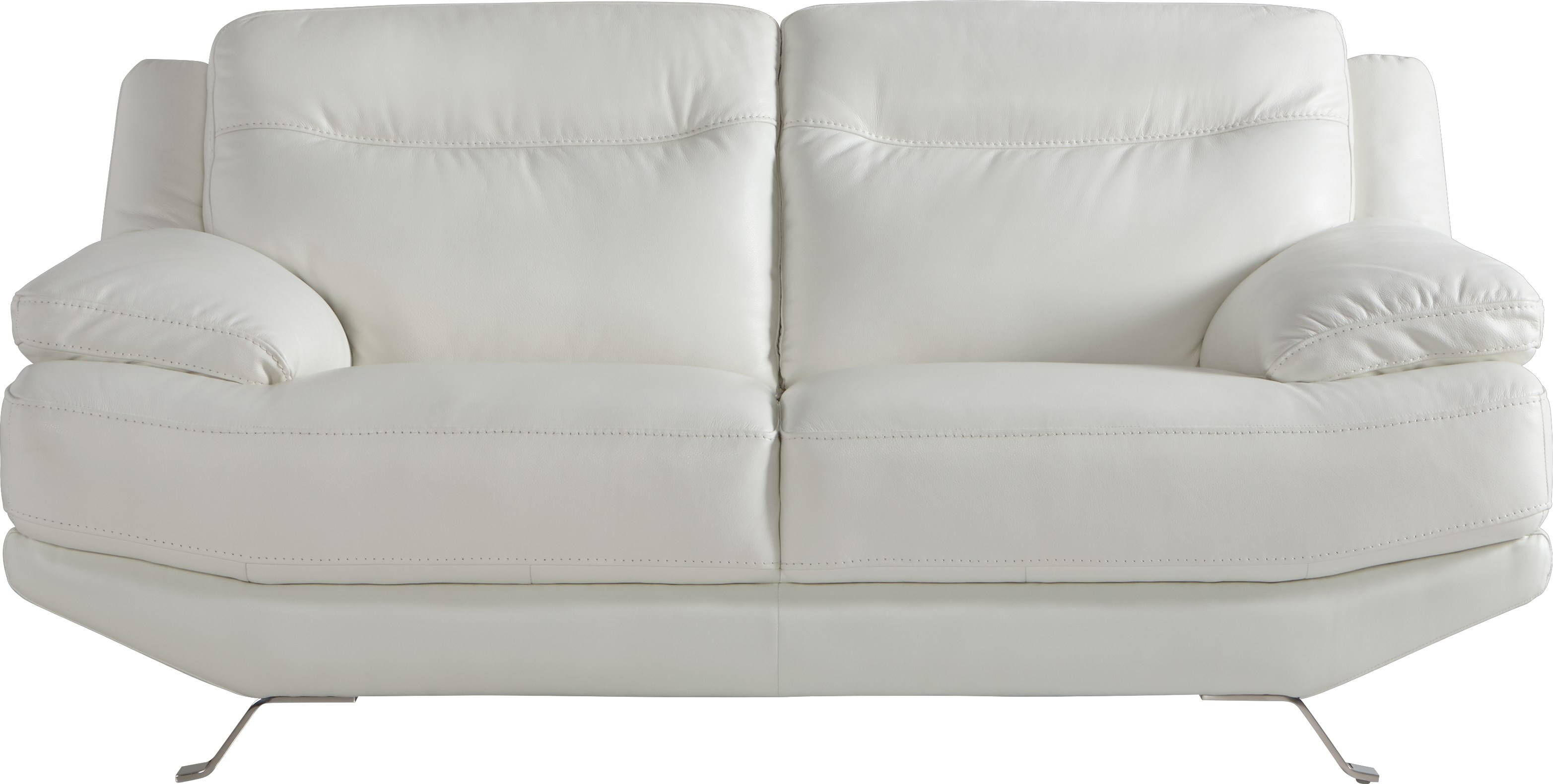Sofia Vergara Castilla White Leather Loveseat - Leather Loveseats (White)
