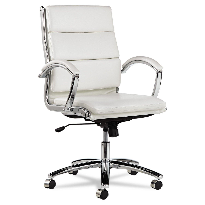 Traveller Location: Alera ALENR4206 Neratoli Mid-Back Swivel/Tilt Chair, White Faux  Leather, Chrome Frame: Kitchen & Dining
