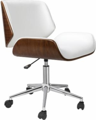 Carson Carrington Herning Wood and Faux-leather Office Chair (White - White  Finish)