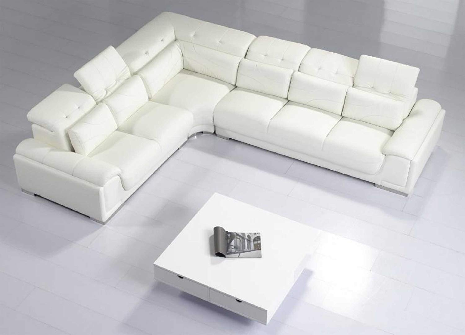 Traveller Location: Modern Furniture- VIG- T93C - Modern White Leather Sectional  Sofa: Kitchen & Dining