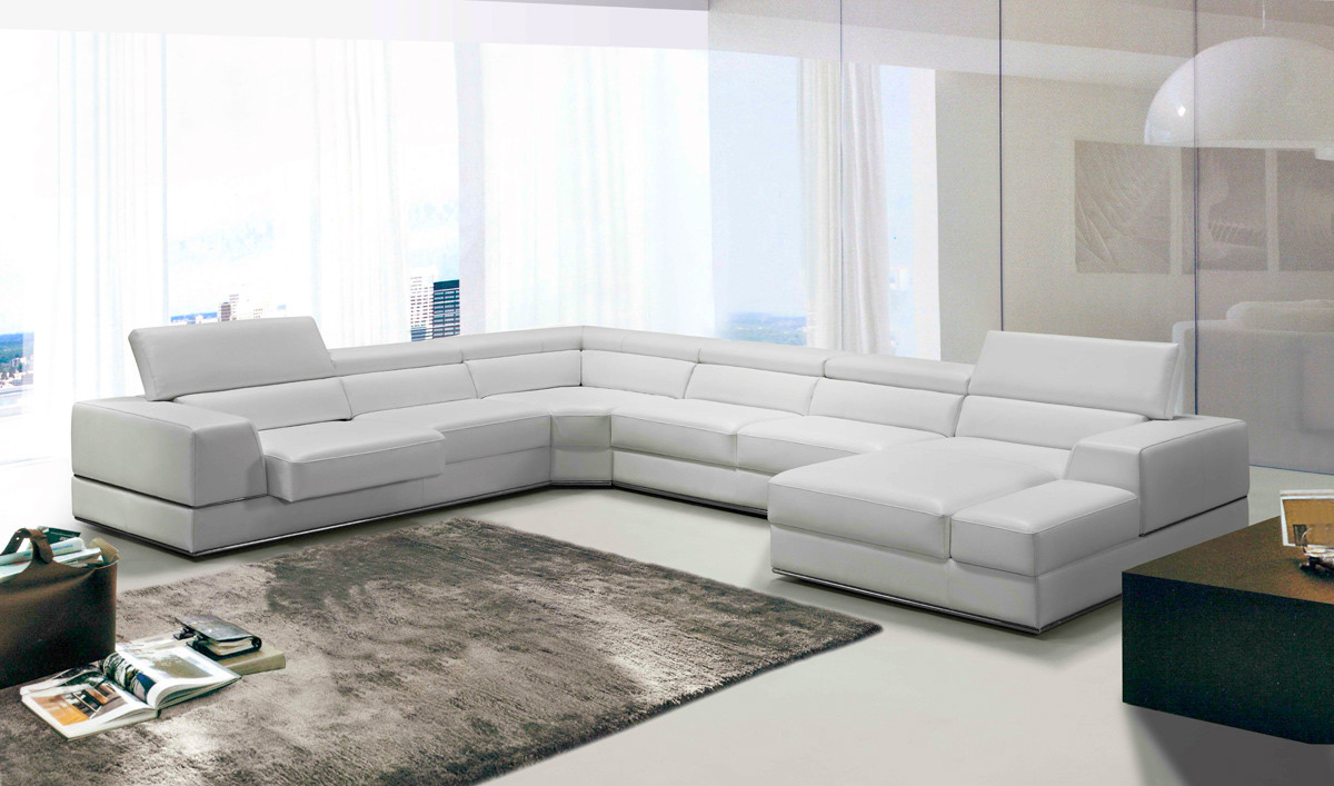 Your bookmark products. Divani Casa Pella Modern White Leather Sectional  Sofa