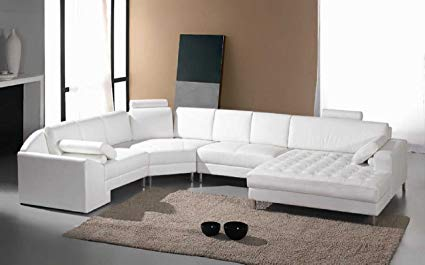 Image Unavailable. Image not available for. Color: Vig Furniture Monaco White  Leather Sectional Sofa