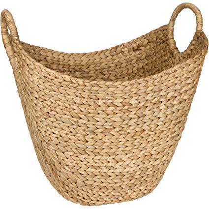 Seagrass Storage Basket by West Dwelling - Large Water Hyacinth Wicker  Basket / Rattan Woven Basket