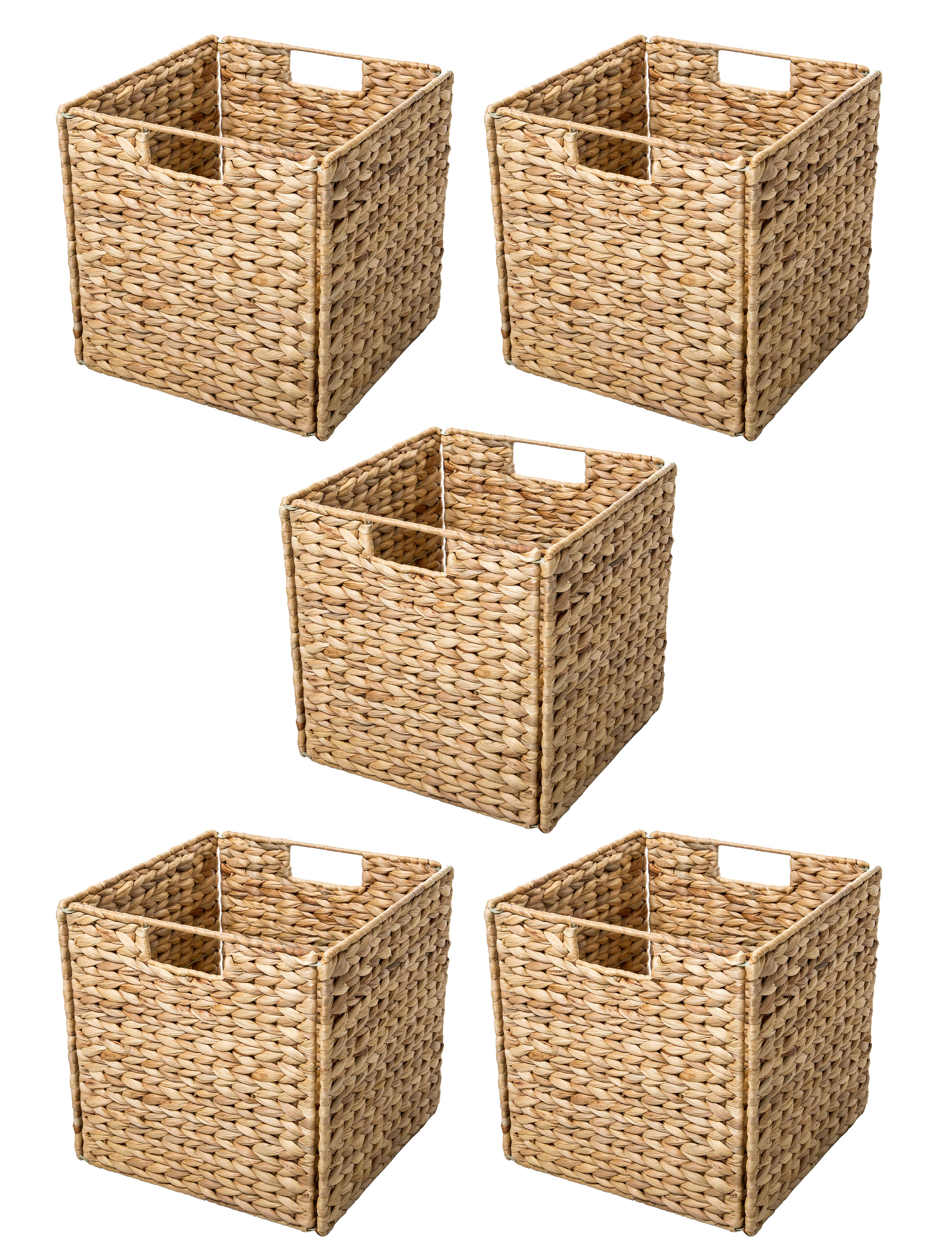 Trademark Innovations Hyacinth Foldable Storage Wicker Basket with Iron  Wire Frame & Reviews | Wayfair