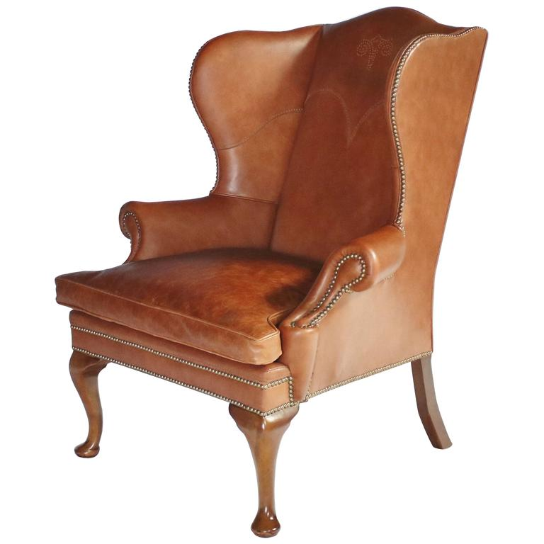 Ralph Lauren Leather Wingback Chair For Sale