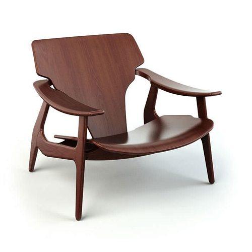 brown wooden armchair 38 am125 3d model obj mtl 1