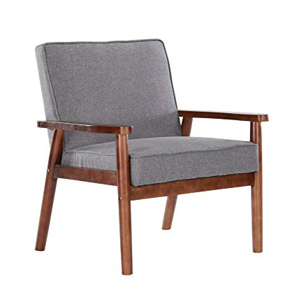 Artechworks Mid Century Modern Upholstered Wooden Armchair Fabric Reading  Chair