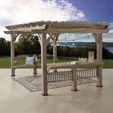 14 x 10 Pergola with Electric Capabilities Backyard Gazebo BARN WOOD