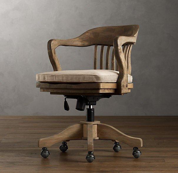 Wooden swivel office chair