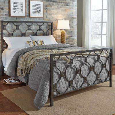 Baxter Heritage Silver Queen Metal Bed with Geometric Octagonal Design