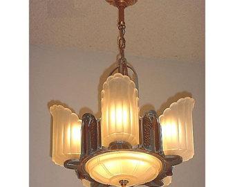 6 light vintage art deco lighting fixture LZRBQNI