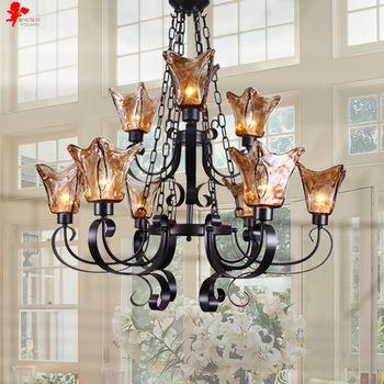 country house lighting 8038-6 +3 h wrought iron chandelier living room lights double european  american PBIILTR