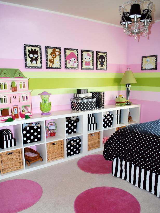 kids room decor ideas girlsu0027 bedroom with modular storage bookcase QBIYXUS