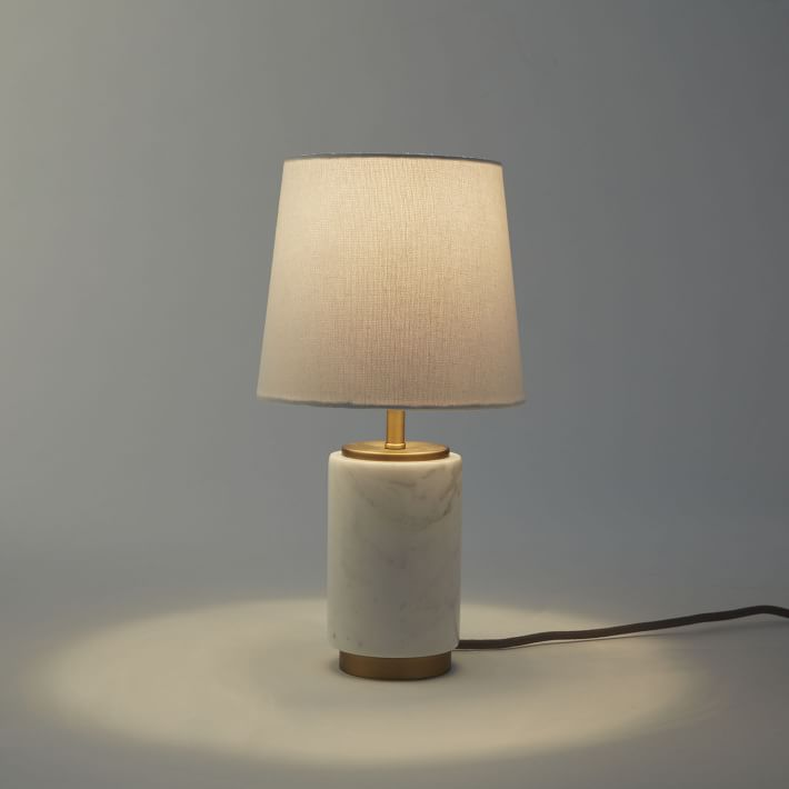 lamp for small table small pillar table lamp - marble | west elm NQBPYFP
