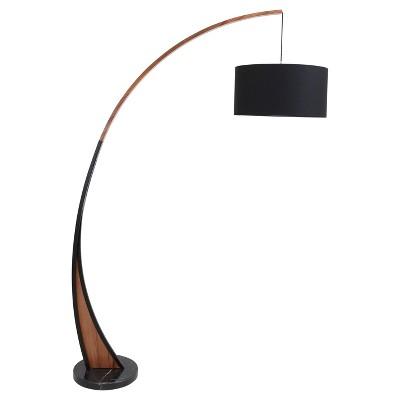 Modern Floor Lamps noah mid - century modern floor lamp with walnut frame and marble base DWGGBOJ