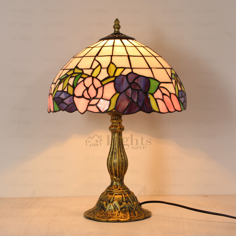 pink and blue rose stained glass tiffany lamps IGFSSAE