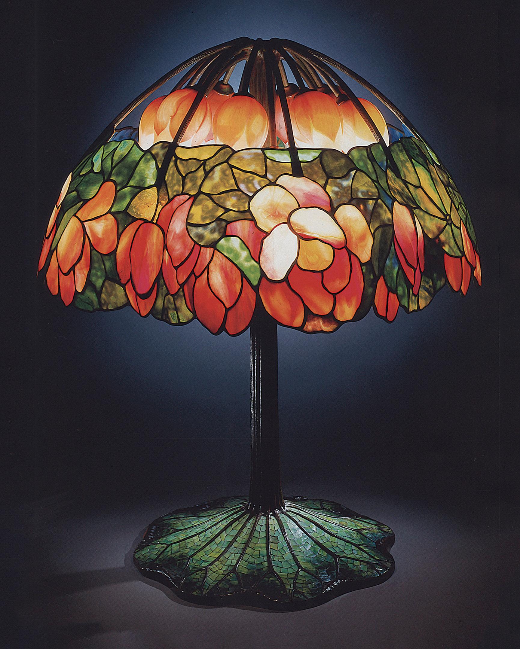 tiffany lamps tiffany studios, a leaded glass, bronze and mosaic u0027lotusu0027 lamp, circa FTWFKKM