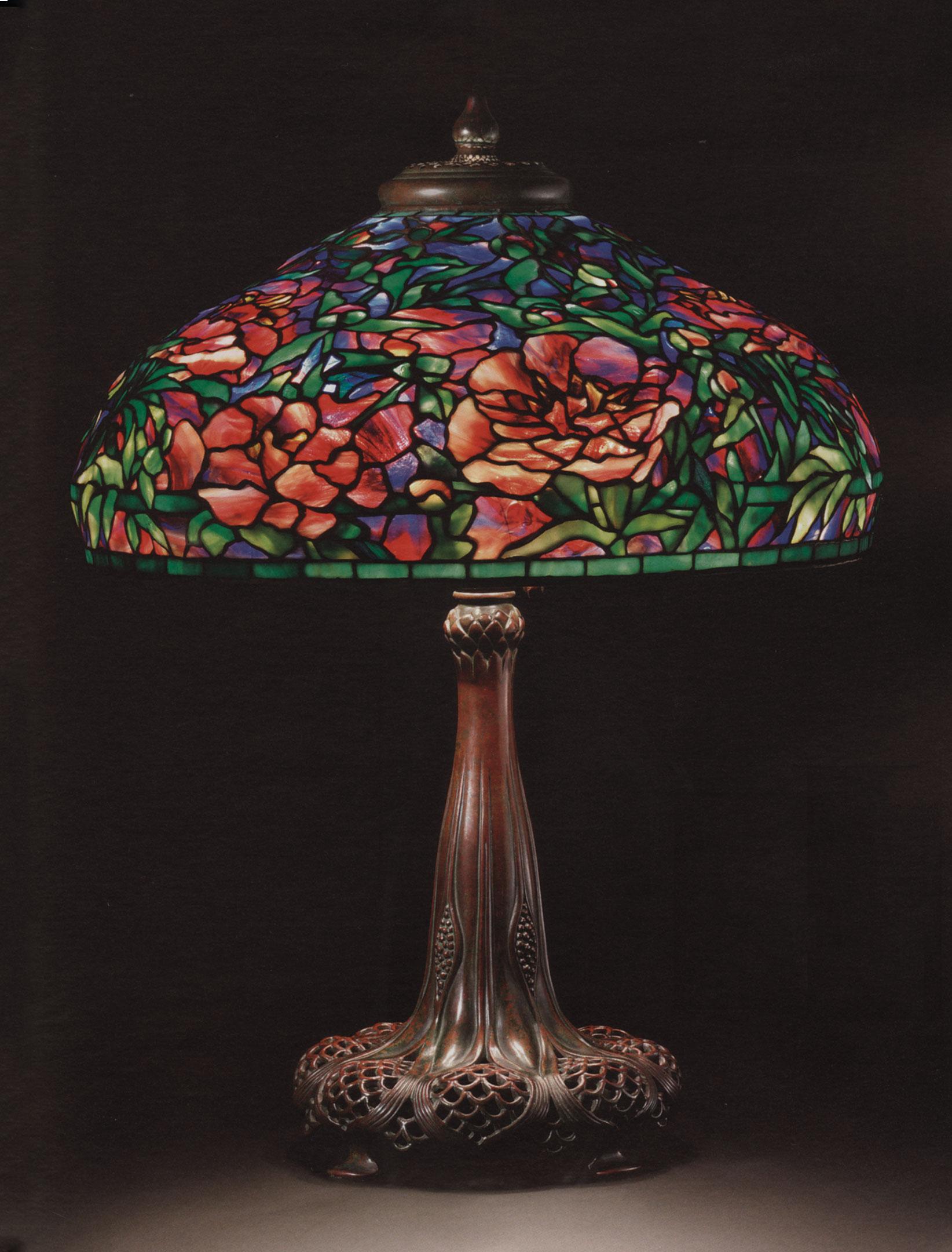 tiffany lamps tiffany studios, an elaborate u0027peonyu0027 leaded glass and bronze table lamp,  circa GCNJFLT
