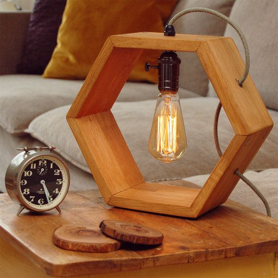 wood lamps designs wooden handmade vintshop hexagon design table lamp with edison bulb-light  oak-desk lamp-wooden HNUOSTO
