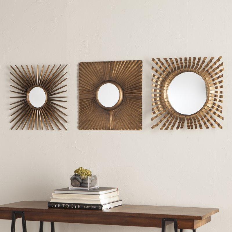 3 piece antique gold decorative mirror set PZCKXIF