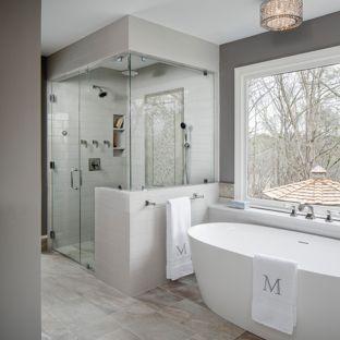 Bathtub Ideas inspiration for a large transitional master gray tile and ceramic tile  porcelain floor FMQGDBZ