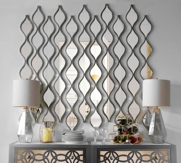 decorative mirror single silver teardrop panel mirror, 6.25x58.75 HUPCKIU