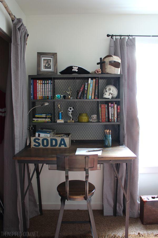 desk for childrens room teen boyu0027s room industrial desk boys desk, teen desk, teen bedroom, teen boy AOAOGEN