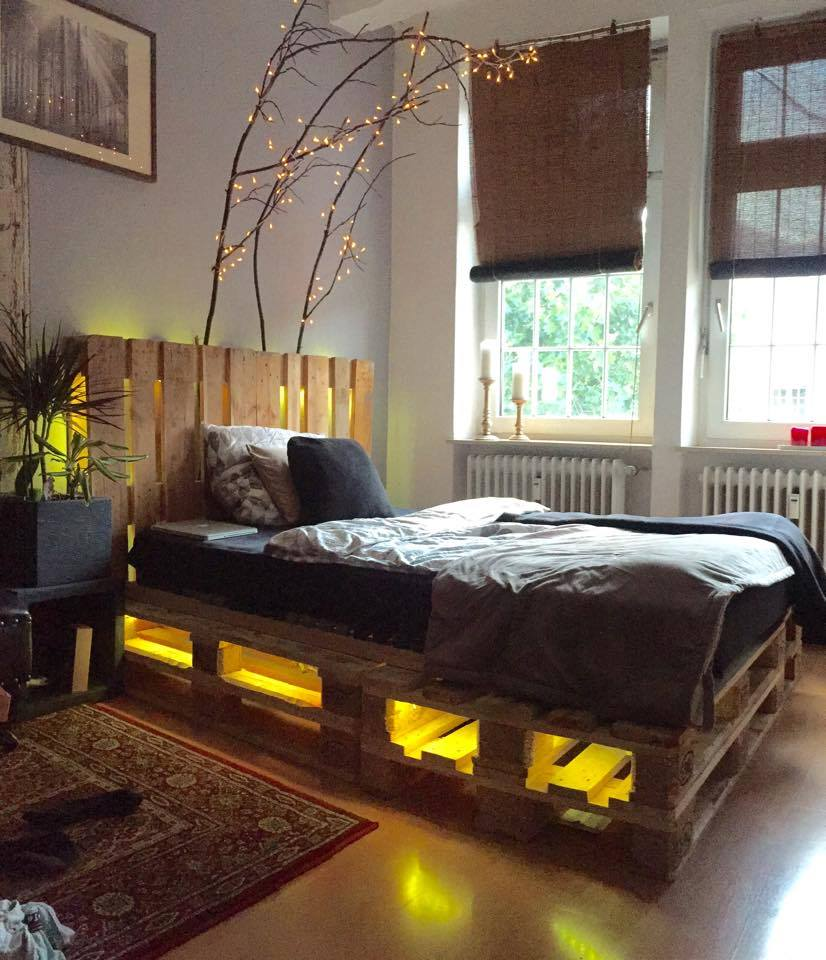 DIY pallet bed pallet bed with lights and drawers KINZXCW