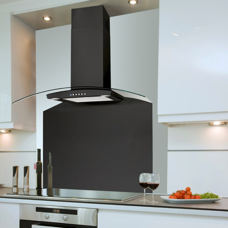 extractor hood kitchen 60cm curved cooker hood black GXYNMDF